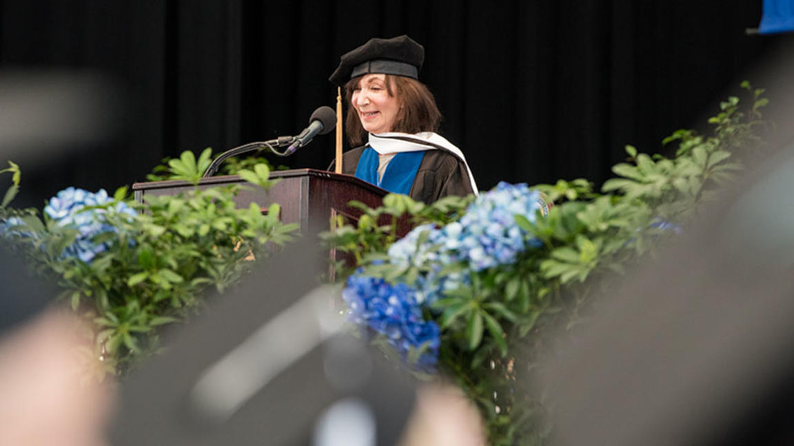 Jackie Bezos speaks at Cambridge College's 2019 commencement ceremony